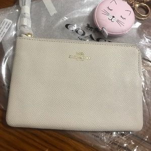 NEW cream colored COACH corner zip wristlet/wallet
